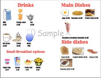 Dramatic Play Restaurant Menu-Breakfast & Lunch/Dinner