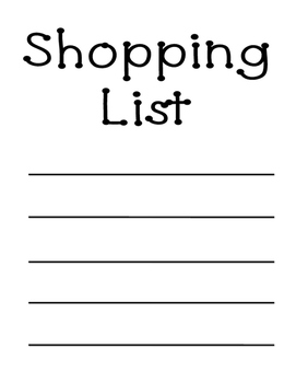 Dramatic Play Shopping List Freebie