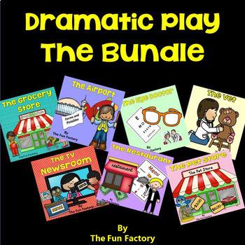 Dramatic Play ~Vet, Restaurant, Eye Dr., Airport, Newsroom, Pet Store, Grocery