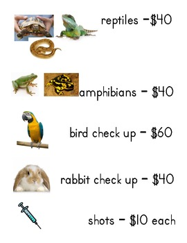 Dramatic Play Vet Office price list for services
