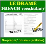 FRENCH Drama vocabulary - Drame le vocabulaire | Distance Learning