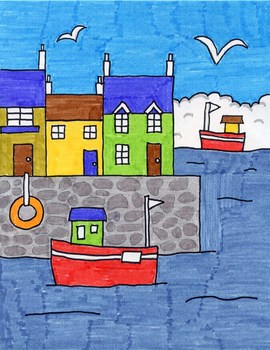 Draw Boats in a Seaside Town