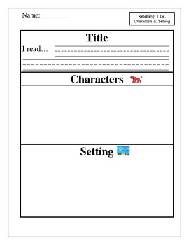 Draw Book Characters and Setting Graphic Organizer