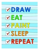 Draw, Eat, Repeat DESIGN Coloring Page