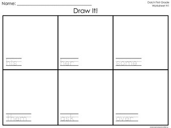 Draw It! First Grade Dolch Words Worksheets