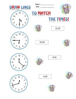 Telling Time - matching worksheet