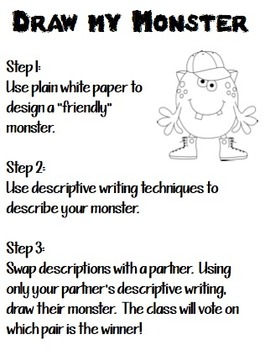 draw my monster halloween descriptive writing activity by