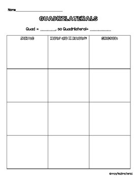 Draw Quadrilaterals Handout