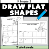 Draw Shapes Core Aligned Worksheets Practice 12 pgs.