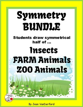 Draw Symmetry in INSECTS, ZOO ANIMALS, FARM ANIMALS ... BUNDLE