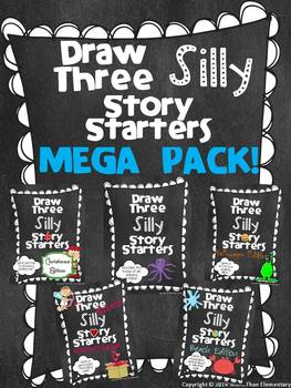 Draw Three Silly Story Starters - MEGA PACK! - Creative Writing Activity