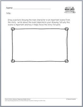 Printables - Literature Response - Draw and Write Middle School SAMPLE