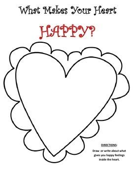 Draw Your Happy Feelings Inside the Heart FREEBIE!