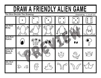 Draw a Friendly Alien Dice Game