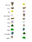 Draw a Line Match Sight Words Spring Kindergarten turtle bee frog rain flowers