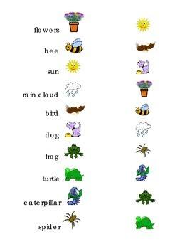 Draw a Line Match Sight Words Spring Kindergarten turtle bee frog rain flowers