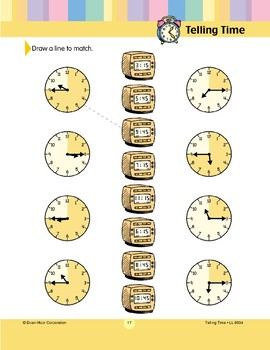 Draw a Line to Match (15/45 Clock Faces)