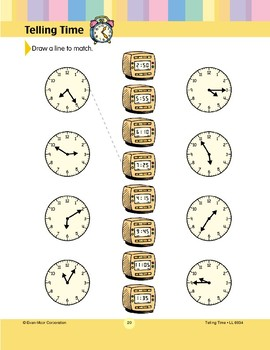 Draw a Line to Match (5-minute Clock Faces)