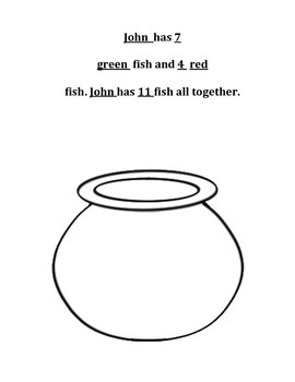 Draw a Picture Addition Strategy - Fish Addition Printable Activity Sheet!
