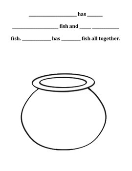 Draw a Picture Addition Strategy - Fish Addition Printable