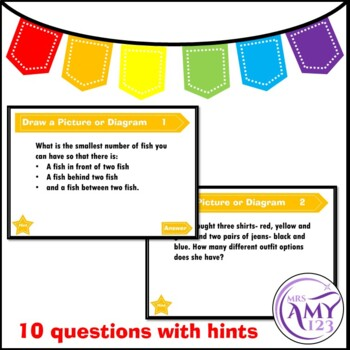Draw a Picture or Diagram Problem Solving PowerPoint, Task Cards and Worksheet