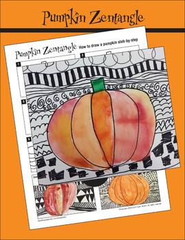 Draw a Pumpkin on a Zentangle Background