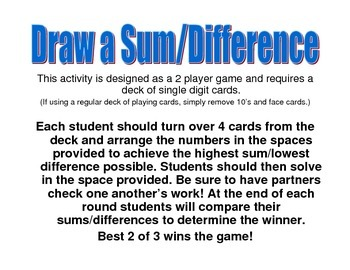 Draw a Sum or Difference: 2 Digit Addition and Subtraction