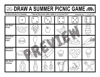 Draw a Summer Picnic Dice Game