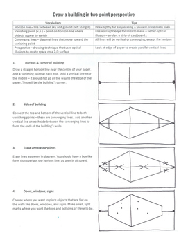 Draw a building in two-point perspective