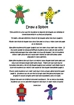Draw a robot: exploring and identifying 2D shapes and working with data