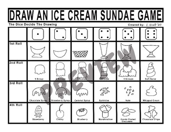 Draw an Ice Cream Sundae Dice Game
