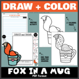 Draw and Color - A Fox in a Mug (One Page Directed Drawing)