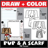 Draw and Color - A Pup and a Scarf (One Page Directed Drawing)