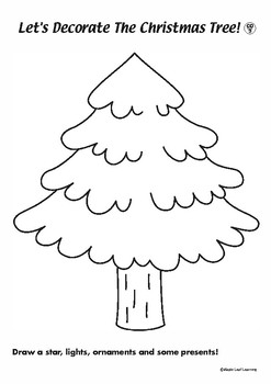 Draw and Color Christmas Tree Activity