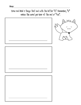 Draw and Label Pictures Beginning with j and v and Ending with x