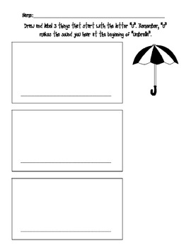Draw and Label Pictures Beginning with u