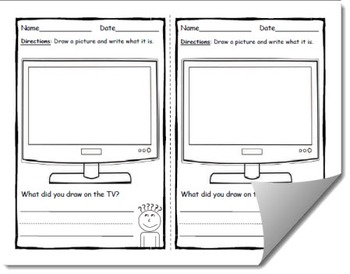 Draw and Label Television Scene (Building Early Vocabulary)