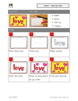 Draw and write step by step - hearts