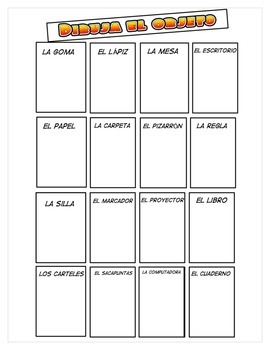 Draw classwork objects-Spanish worksheet