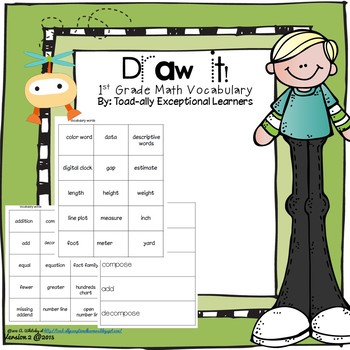 Draw it! Common Core First Grade Math Vocabulary