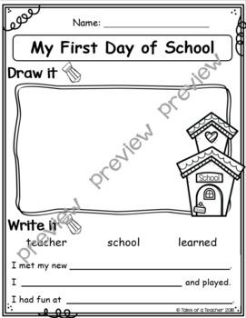 Draw it- Write it- Craft it ~ First Day of School