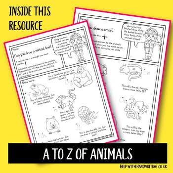 Draw shapes above and below the A to Z of animals