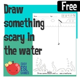 Draw some big, small, cute or scary sea creatures in the water.