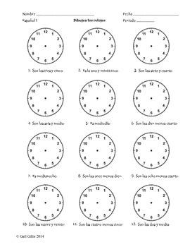 draw the clocks spanish time worksheet by senora gillis tpt. Black Bedroom Furniture Sets. Home Design Ideas