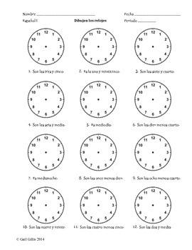 Draw the Clocks!  Spanish Time Worksheet