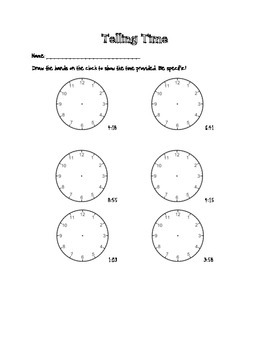 Draw the Hour and Minute Hands to the minute