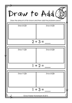 Draw to Add - Addition to Five - Adding to 5 - Worksheets - Printables