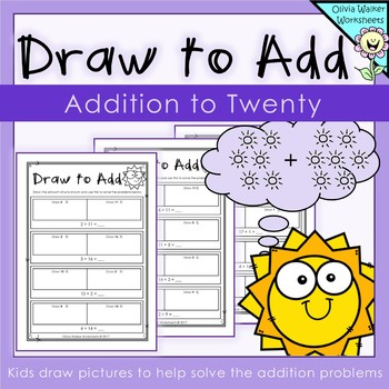 Draw to Add - Addition to Twenty - Adding to 20 - Worksheets - Printables