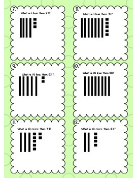 Draw to Show 10More, 10Less, 1More, 1Less - Dry Erase Task Cards w/Answer Sheet