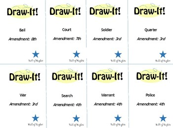 DrawIt! Bill of Rights Review Game - Drawing - 40 Cards! Pictionary-Style